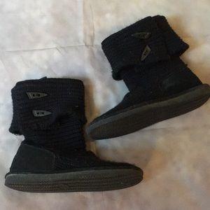 Bearpaw Black Knit Boots Size 9